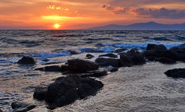 日落在米科诺斯岛 库存照片