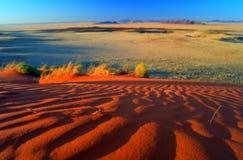 日落在纳米比亚沙漠,被弄脏的风景 免版税库存照片