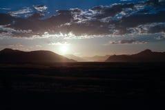 日落在纳米比亚沙漠 国家公园Namib-Naukluft纳米比亚 库存图片