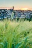 日落在罗德兹,法国 免版税库存照片