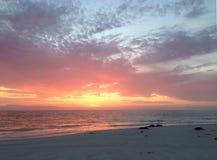 日落在西万提斯海滩 库存图片