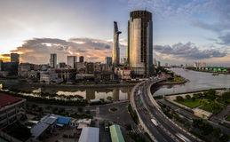 日落在西贡,越南 免版税库存照片