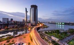 日落在西贡,越南 免版税库存图片