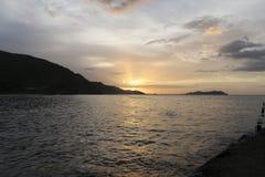 日落在里约Caribe 免版税库存照片
