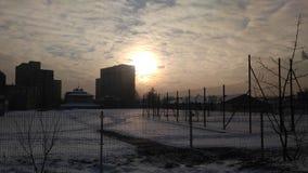 日落在镇里 免版税图库摄影