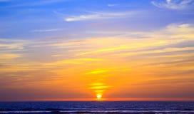 日落在阿加迪尔,摩洛哥 免版税库存照片