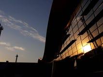 日落在阿图罗美利奴绵羊的贝尼特兹机场 库存图片