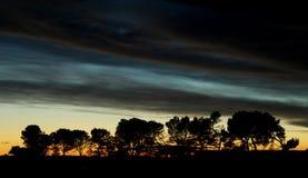 日落在阿尼昂,法国 库存照片