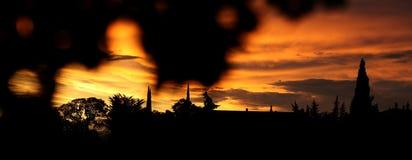 日落在阿尼昂,法国 免版税库存照片