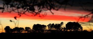 日落在阿尼昂,法国 库存图片