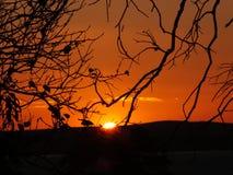 日落在阿雷格里港,巴西 库存图片