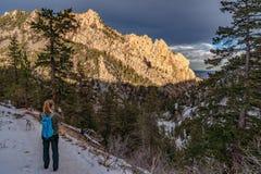 日落在黄金国峡谷国家公园 免版税库存照片