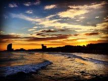 日落在巴塞罗那 库存照片