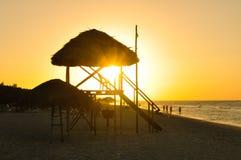 日落在巴拉德罗角,古巴 库存图片