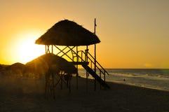 日落在巴拉德罗角,古巴 免版税图库摄影