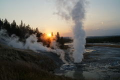 日落在黄石国家公园 图库摄影