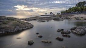 日落在Bangsaen的观点 免版税图库摄影