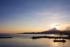 日落在Candidasa,巴厘岛 免版税图库摄影