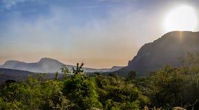 日落在Chapada Diamantina国家公园-巴伊亚,巴西 免版税库存图片