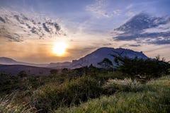 日落在Chapada Diamantina国家公园-巴伊亚,巴西 免版税库存照片