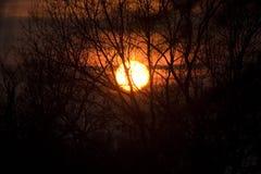 日落在Collsacabra 库存图片