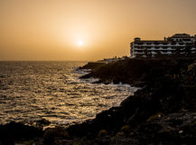 日落在Costa del Silencio 图库摄影