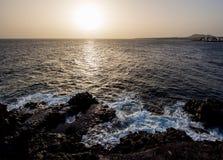 日落在Costa del Silencio 免版税库存图片