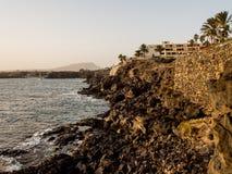 日落在Costa del Silencio 库存图片
