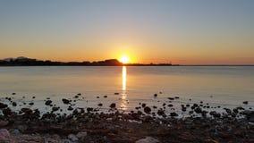 日落在Denia,西班牙 库存照片