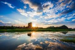 日落在Fubo Moutain 图库摄影