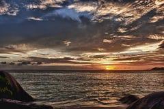 日落在La digue海岛 库存图片