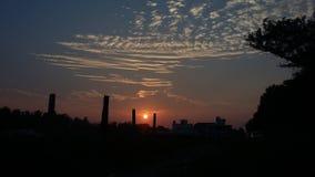 日落在Mamallapuram 库存图片