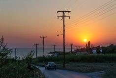 日落在Nea Kallikratia,希腊 图库摄影
