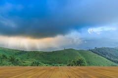 日落在Nern张Suek观点, Pilok, Kanchanab的观点 图库摄影