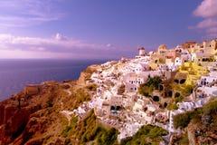 日落在Oia,圣托里尼希腊 免版税图库摄影