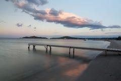 日落在Pinarellu 免版税库存图片