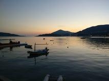 日落在Rafailovici 免版税库存照片
