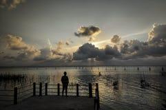 日落在Songkhla湖,泰国 库存照片