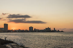 日落地平线哈瓦那 免版税库存照片