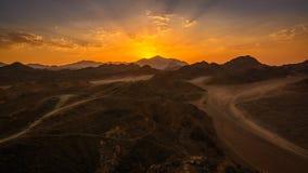 日落埃及沙漠 免版税库存图片