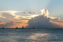 日落基韦斯特岛 库存照片