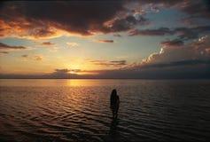 日落塔希提岛 库存照片