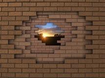日落墙壁 免版税图库摄影