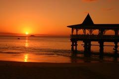 日落安提瓜岛加勒比 库存图片