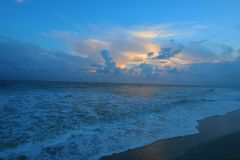 日落富丽海滩南卡罗来纳 免版税库存照片