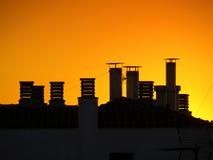 日落屋顶 库存图片
