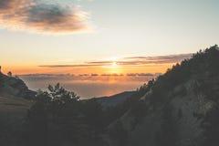 日落山风景旅行平静的风景视图 库存图片
