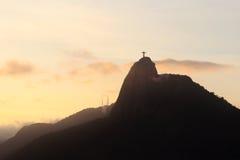 日落山Corcovado,里约热内卢 免版税库存图片
