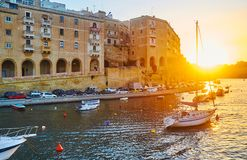 日落巡航,森格莱阿,马耳他 库存图片