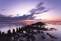 日落平静的waddensea 免版税库存照片